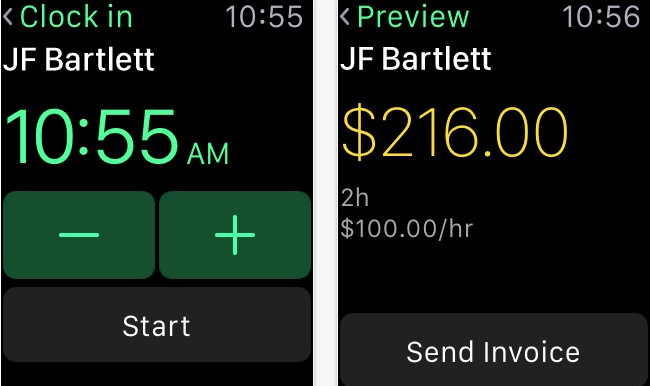 Invoice2go productivity app for Watch