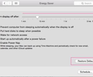 Using System preference set energy saving time