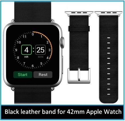 JETech black leather Wrist band Apple Watch 42mm