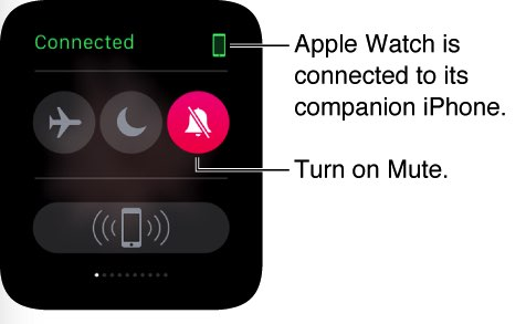From glance put apple watch in to silent mode