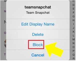 how do you block someone on snapchat on iphone