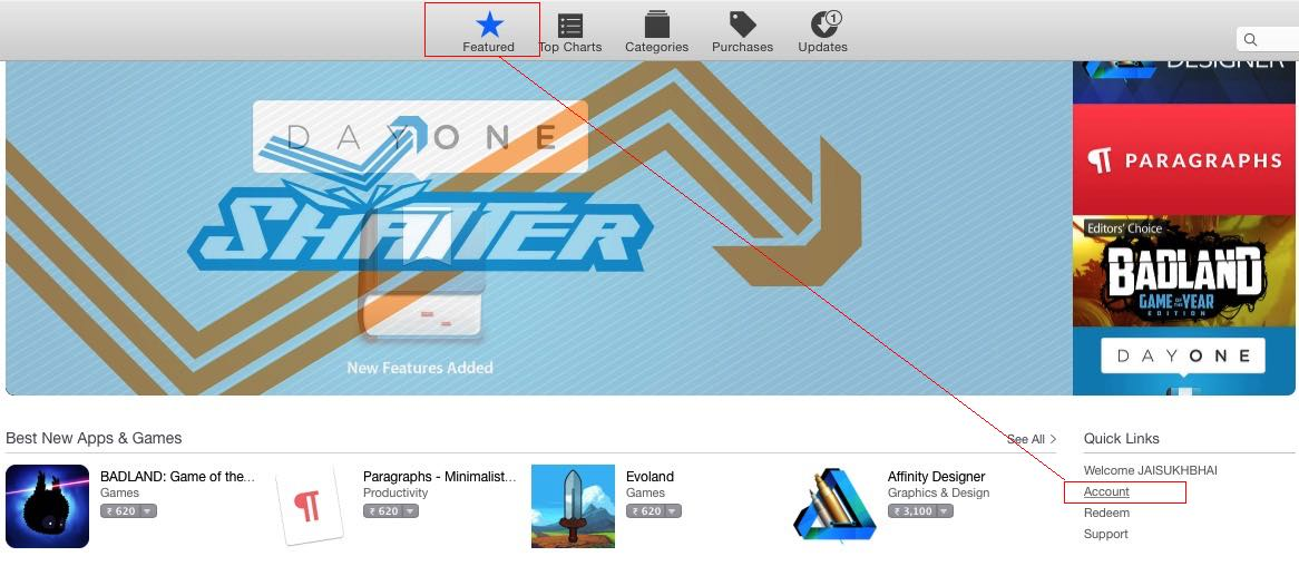 Go for account setting in Mac App store