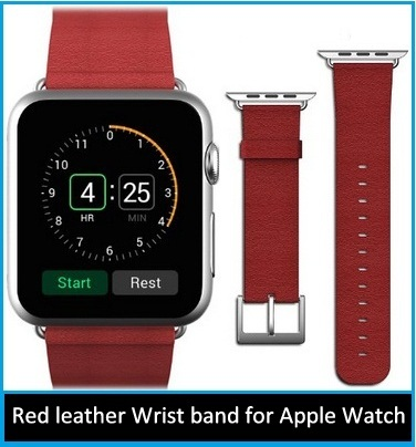 Red leather Wrist band for Apple Watch replacement strap