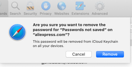 Remove Saved Password complately from icloud Keychain