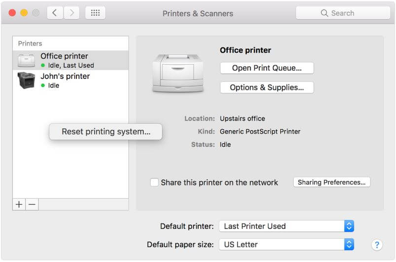 Reset Printing System on Mac