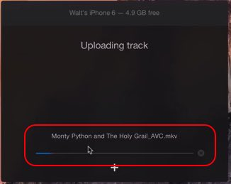 Upload process has been started on iPhone