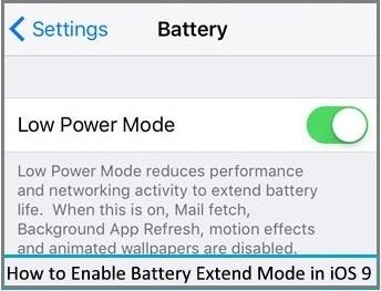 battery saving mode in iOS 9, iPhone 6, iPhone 6 Plus , iPad Air 2, iPad Mini 2 and iPhone 5S, iPhone 4S