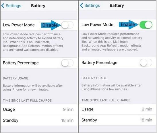 How to Turn on/ Enable low power mode in iOS 9: iPhone, iPad