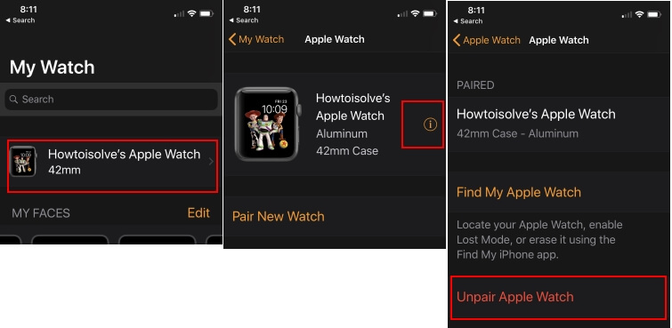 2 Unpair Apple Watch