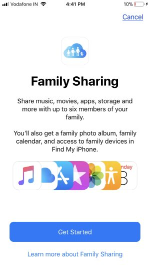 3 Start or Turn on Family sharing by invite member