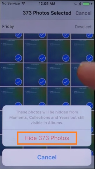 Tap on hide photos that will be hidden