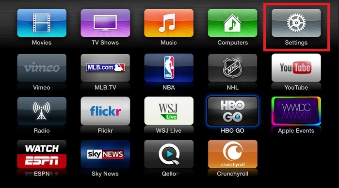 Go to the Main menu Screen on your Apple TV