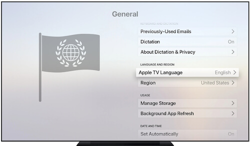 Apple TV language option