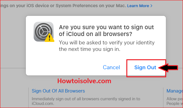 Are you Sure you want to Sign out of iCloud on all browsers