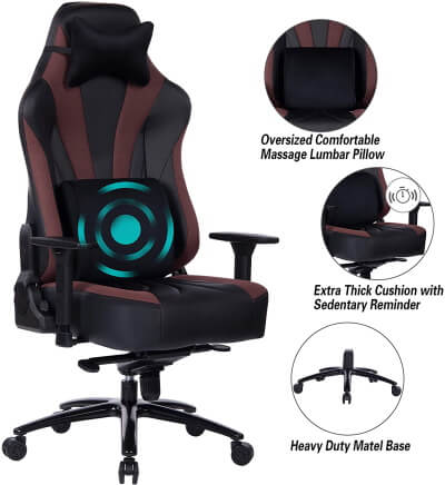 Blue Whale Gaming Chair with Massage Lumbar