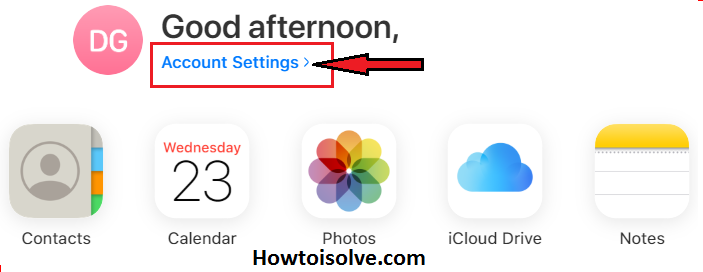 Click on Account Settings that are located in the middle of the screen to Sign out of iCloud on all browsers