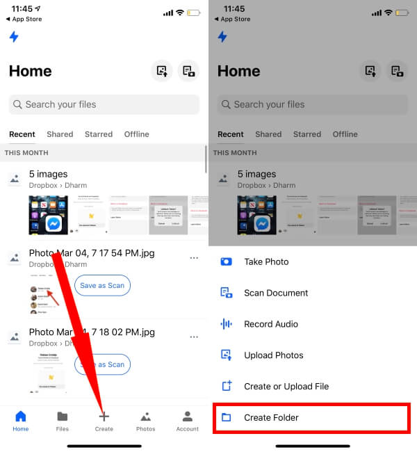 Create Folder in Dropbox App