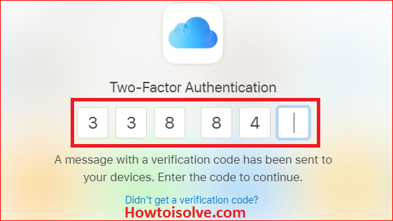 Enter Two-Factor Authentication for Apple ID six digits code to Sign out of iCloud on all browsers