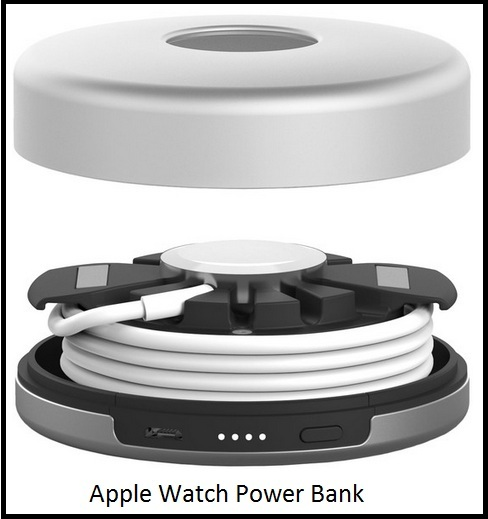 Apple watch dock with inbuilt battery