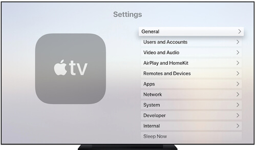 General Option on Apple TV settings