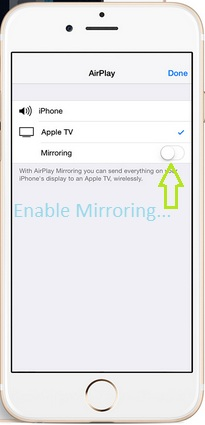 Enable Mirroring on iPhone, iPad running on iOS