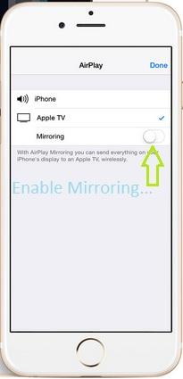 Enable Mirroring on iPhone, iPad running on iOS