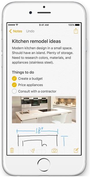 Notes app update in iOS 9