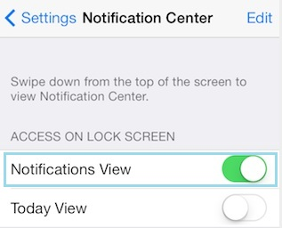 Enable notification view for iPhone, iPad