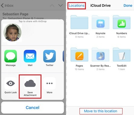 how to Save an email attachment in mail app to iCloud drive directly in iOS 9: iPhone, iPad