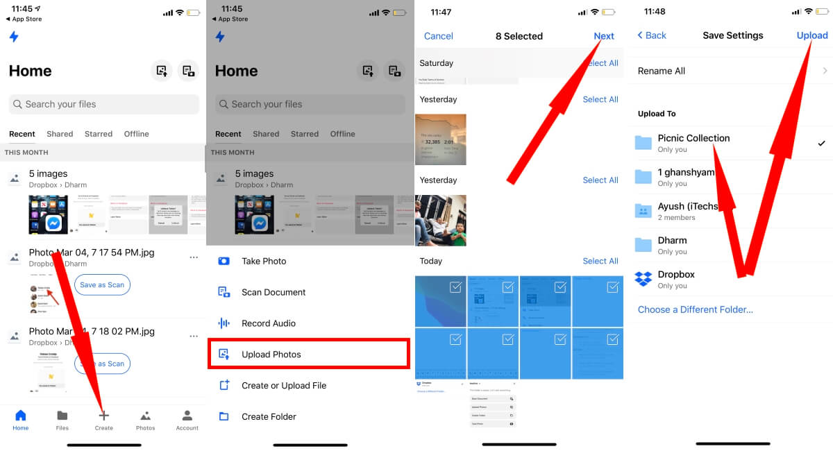 Upload iPhone Photos Manually on Dropbox App