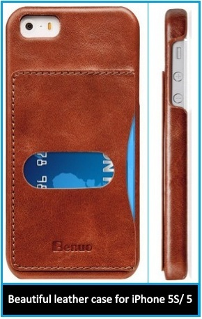 Beautiful leather case for iPhone 5S and iPhone 5 offer by Benuo