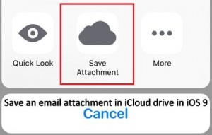 Save an email attachment in mail app to iCloud drive directly in iOS 9: iPhone, iPad