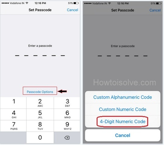 How to switch or change six digit Passcode in to 4 digit Passcode on iOS 9, iPhone 6 Plus, iPhone 5S, iPhone 4S