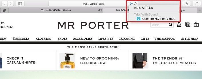 You can do Mute All audio tab at once on safari mac os x 10.11