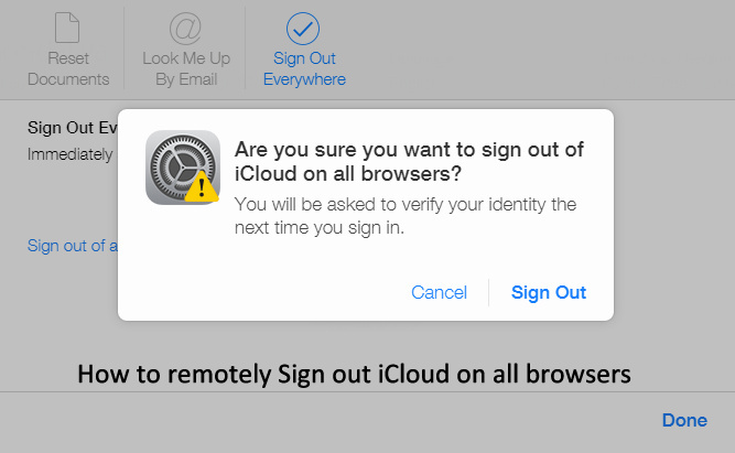 pop up Are you Sure you want to Sign out of iCloud on all browsers?