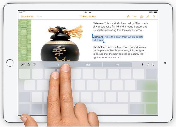 QuickTime for Keyboard in iOS 9