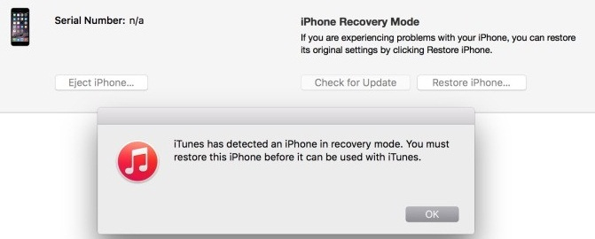 saying iPhone in recovery mode has been detected