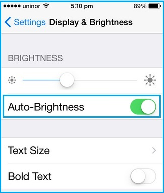 optimize battery life on Set on Auto Brightness