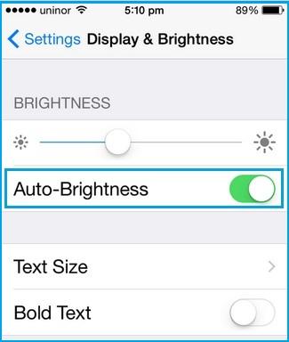 optimize battery life on Set on Auto Brightness