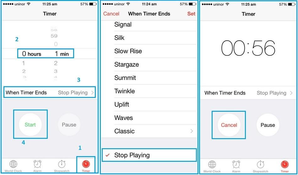 Set sleep timer for music app in iPhone, iPad, iPod