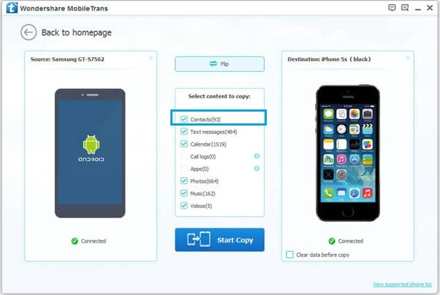 Transfer contacts from android to iPhone 6 and iPad