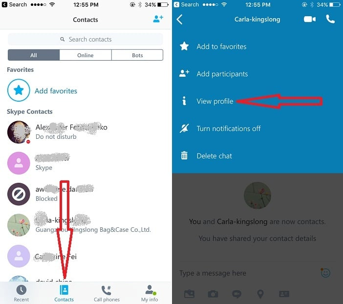 11 Go to Contacts List on Skype iPhone app