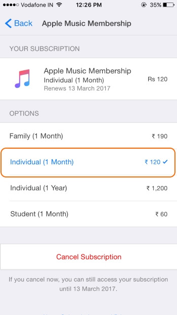 Change Apple music Subscription using iPhone and iPad