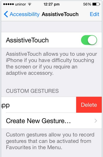 Delete selected custome Gesture