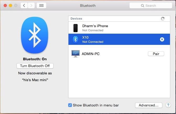Enable Bluetooth icon on Menu bar for OS X