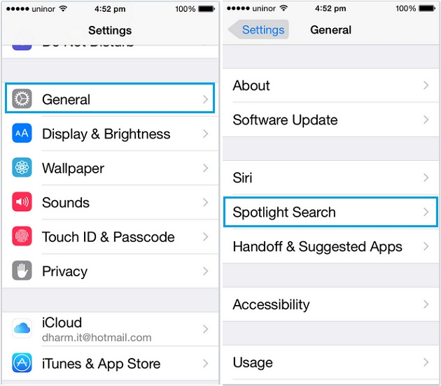 Manage and customize spotlight search in iPhone, iPad and iPod touch