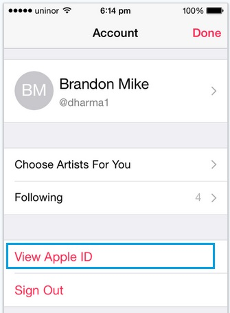 Click on View apple ID for music settings