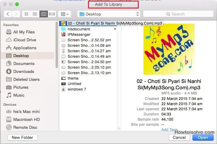 for mac iTuens Add to library songs, music