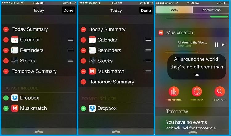 Add new Musixmatch in iOS 8 running in iPhone, iPad
