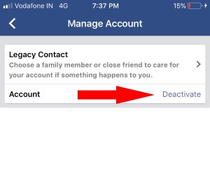 3 Deactivate Facebook account from iPhone app